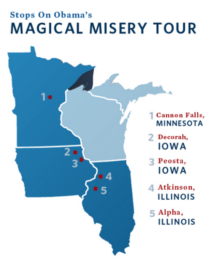 Obama concludes day two of whistle - stop Midwest tour