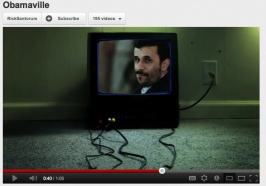 Santorum ad slips Obama's face into Ahmadinejad montage