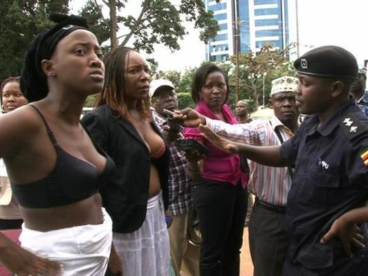Bare-chested defiance in Kampala over police groping