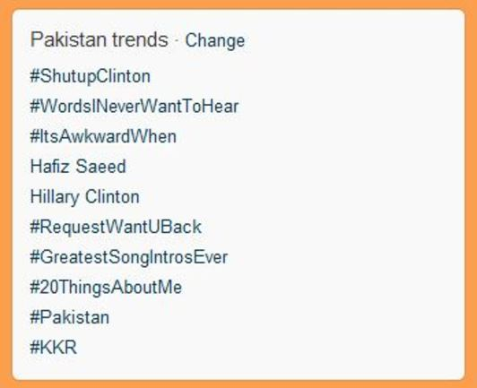 Pakistanis scream #ShutUpClinton over terrorist claim