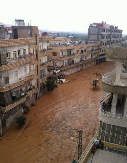 Floods hit Syrian town