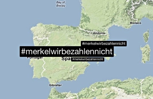 Spaniards tell Merkel they won't pay with #MerkelWirBezahlenNicht