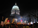 Thousands protest against public sector cuts in Wisconsin