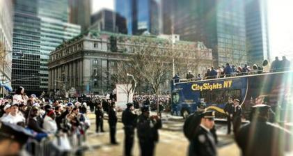 Ticker tape flies as Giants fans storm the streets of NYC