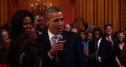 Obama sings Sweet Home Chicago with B.B. King