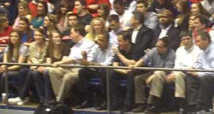 Obama and Cameron catch an NCAA basketball game
