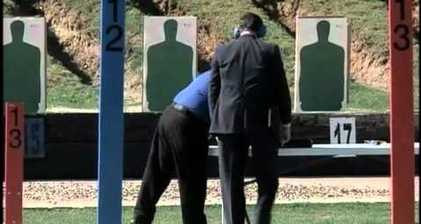 Woman shouts 'pretend it's Obama' at Santorum target practise