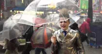 Jedward singing in the Tokyo rain