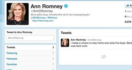 Ann Romney's first tweet triggers online debate