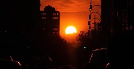Images of partial Manhattanhenge