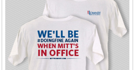 Romney campaign releases #doingfine T-shirt