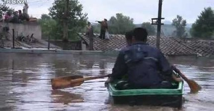 Flooding swamps North Korean city